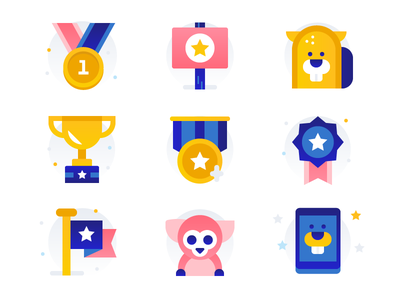 Pet Contest Icons symbol pet icons illustration icon set icons animal icons animals winner beaver contest trophy badge