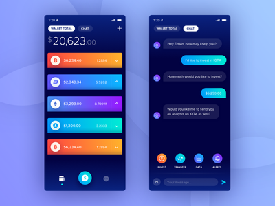 Crypto Wallet App wallet crypto bitcoin app ios chat robot digital currency app designer finance payments