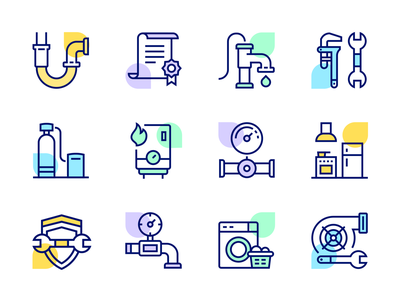 ServiceTitan Icons contract pipes shield line icons service titan ui flat icon set ios app illustration icons