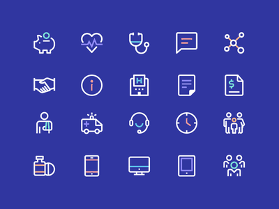 Health Icons #2 medicine chat savings ambulance ui ux icon designer iconography icon set health