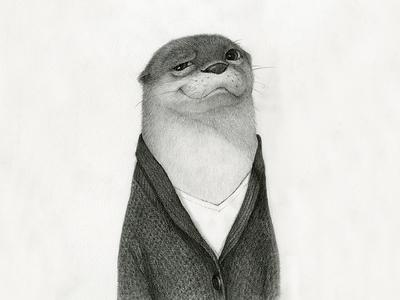 Mr. Otter NO.3 pencil sketch picture book illustration