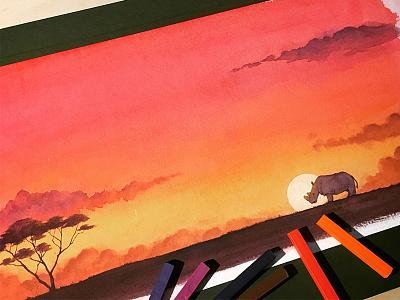 苏丹的犀角 chalk drawing picture book watercolor illustration