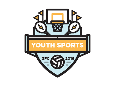 Youth Sports logo badge volleyball tennis basketball sports youth illustration