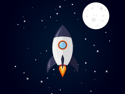 Rocket Flat Design Illustration