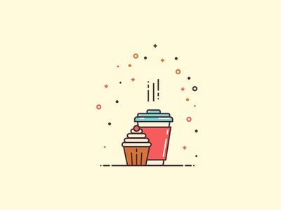 Coffee and Cupcake flat design