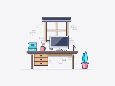 Workspace Flat Design