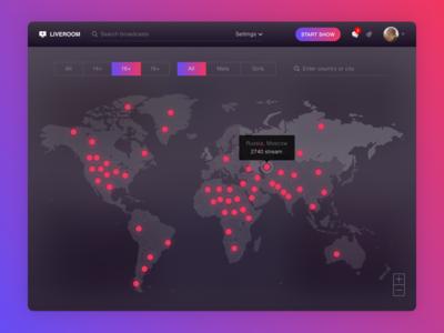 Stream map search stream profile interface ui ux map