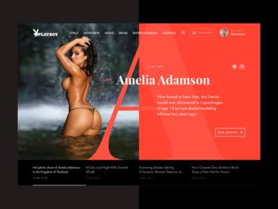 Playboy redesign concept - Slider 1 interface journal news web sketch ux ui sex girl playboy webdesign redesign