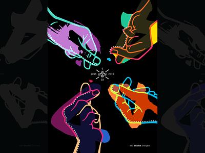 Studios Shanghai 4th Anniversary overlay 4th design fingers crossed neon finger heart four finger hand 4 anniversary poster illustration ibm design ibm
