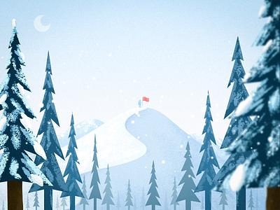 White Winter china invite design illustration