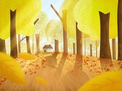 The Fall yellow design invite illustration