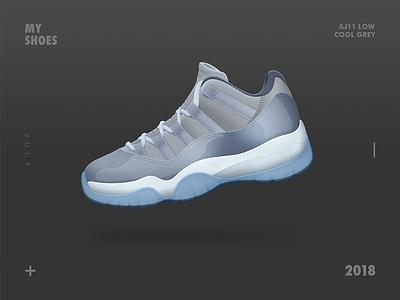 The AirJordan 11 Low Cool Grey shoe grey icons aj illustraction