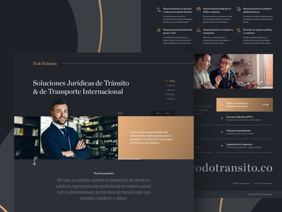 Dark UI for TodoTransito a Colombian law firm. hero banner hero minimal uxdesign ui design uidesign lawyer clean landingpage landing homepage webdesigner webdesign uiux ux ui