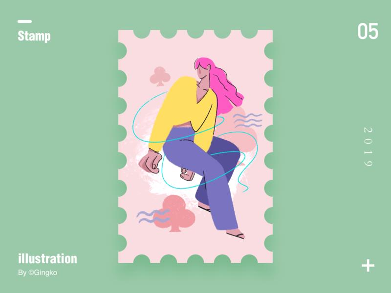 Stamp5 girl illustration