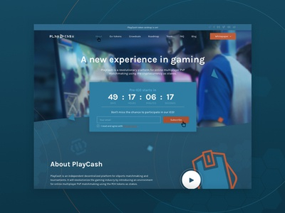Playcash ICO web design landing page uiux ico web design