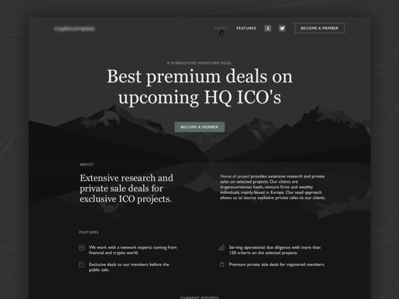 Landing page web design for crypto deals mountain dark background landing page onepage ui-design web design crypto blockchain