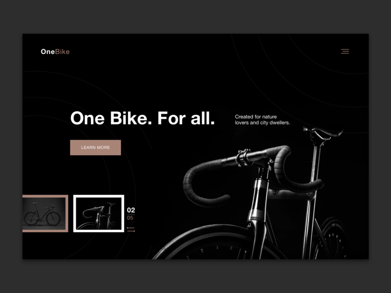 Hero image - Bike presentation hero image bike design ui landing page web design uiux