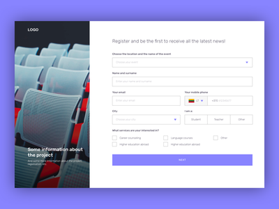 Registration form for the event event registration form signup form signup ui web design uiux
