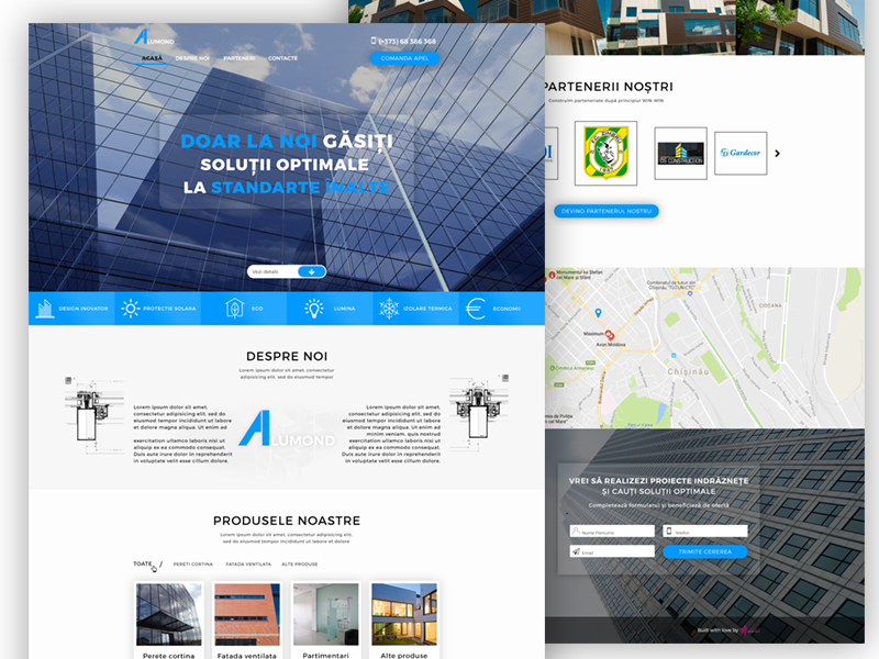 Alumond construction company,Landing Page glass construction web sait ux design ui design web design anding page