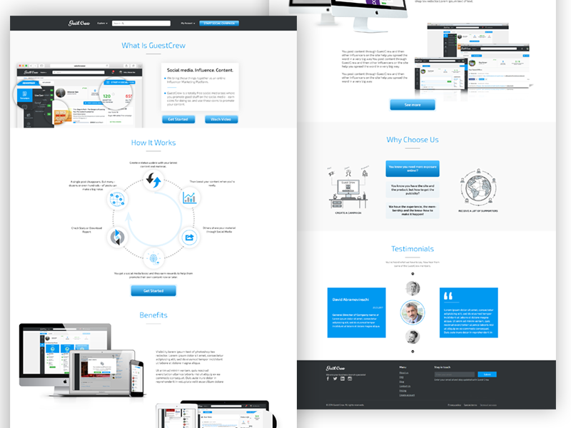 Landing Page for GuestCrew company web site web design ux design ui design landing page