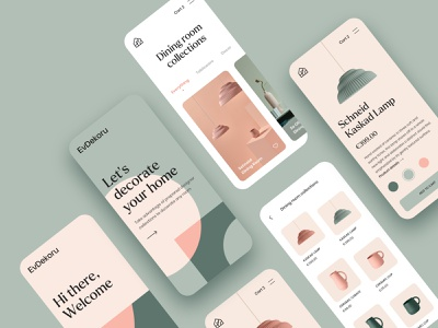 EvDekoru App UI typography grid olive interior design onboarding ui onboarding collections branding lamp app product card product page ecommerce ui home decor interior store shop