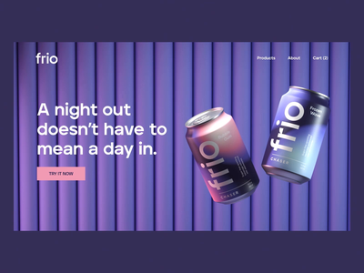 Frio Homepage Animation beverage packaging beverage design drink art direction can animation can design packaging cinema4d c4d 3d 3d animation animation branding web web design beverage