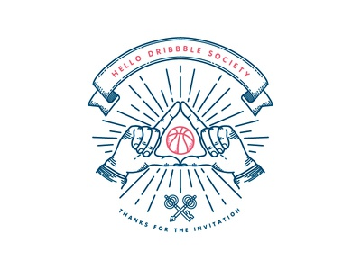 Hello Dribbble Society hand masonic keys hands eye secret society vintage badge first shot debut dribbble hello