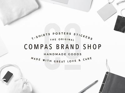 Compas Brand Badge apparel shop fashion streetwear brand clothing typography modern label header background badge