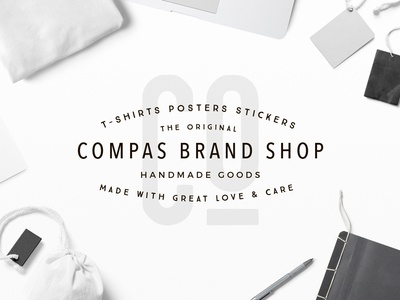 Compas Brand Badge apparel shop fashion streetwear brand clothing typography modern label header background badge