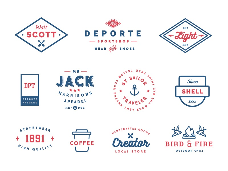 "Some badges from ""55 Logo Templates Bundle"" branding badge labels logo bundle creative market typography retro modern vintage badges logo template logos"