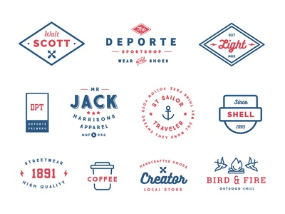 "Some badges from ""55 Logo Templates Bundle"""