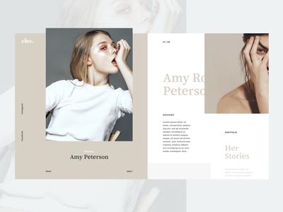 Model's portfolio page concept ui  ux design grids minimal layout portfolio grid ui interface girl fashion model webdesign web