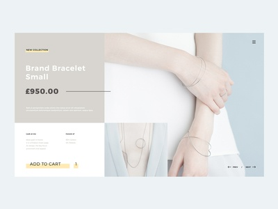Product Card Page shop ecommerce uidesign grid design grid color blocks blue typogaphy cart bracelet accesories product catalog product card web webdesign ui