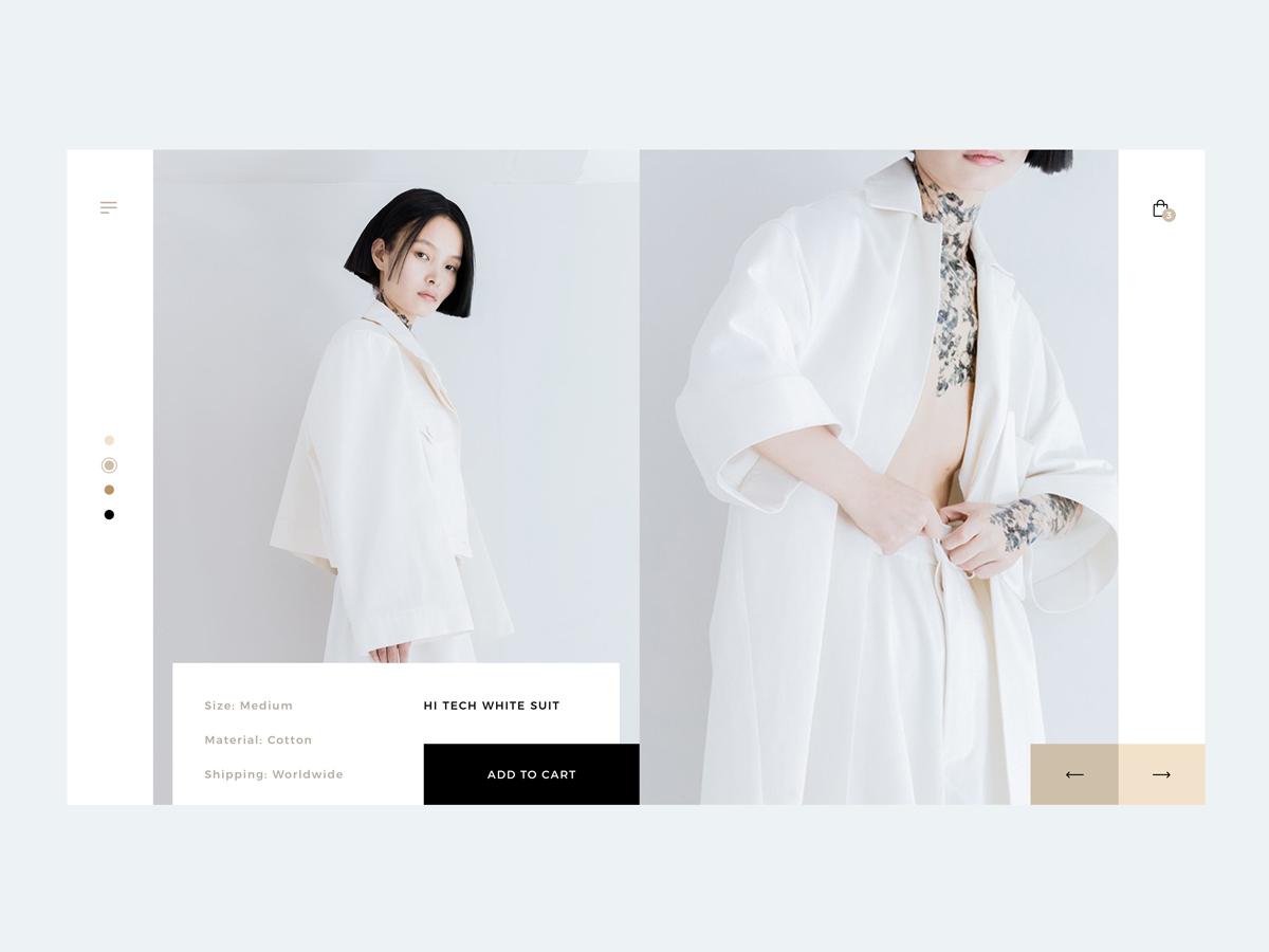 Minimalistic Product Page web design ux fashion app slider cart minimalist minimalism white suit photoshop product card asia e-commerce fashion design concept grid ui web