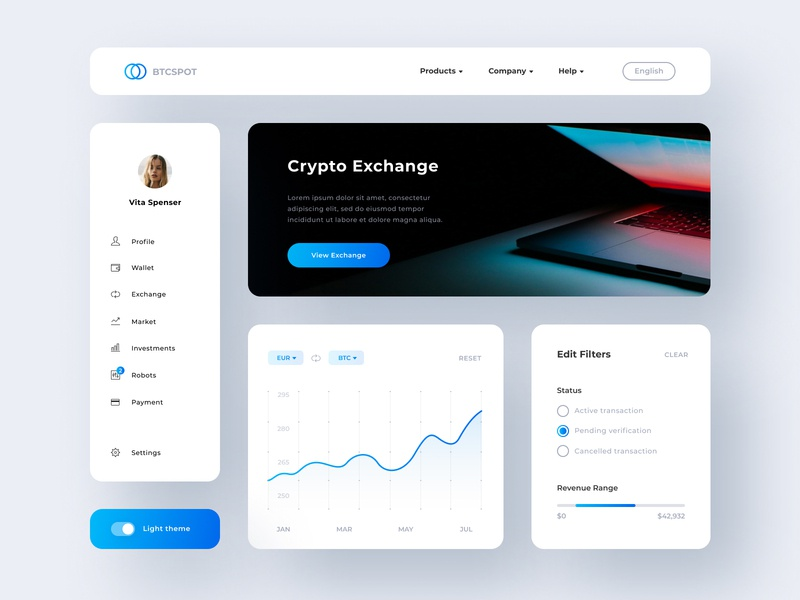 Btcspot UI Elements exchange blue side bar menu filters filter banner graphic dashboard crypto dashboard crypto exchange crypto currency crypto ui guide uikit ui