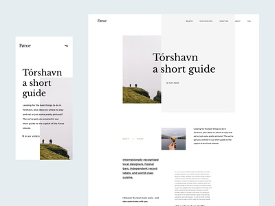 Faroe Islands - Article Page torshavn mobile resposive article page article aesthetic minimalist typography web design webdesign grid nature ui web faroe islands faroe