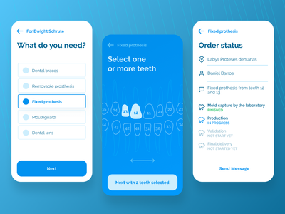 Dental prosthesis purchase app for dentists clinical ui dentist mobile