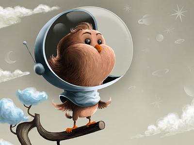 Starstruck Starling illustration scifi bird space astronaut