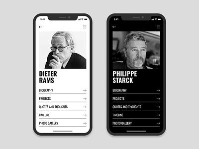 Minimalist App UI - WIP black and white clean design clean ui starck minimalist dieter rams typography type mobile ui