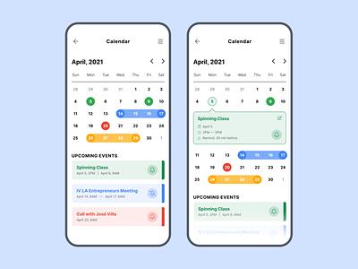 Callendar App uxui user interface scheduling schedule calendar mobile typography minimalist ui