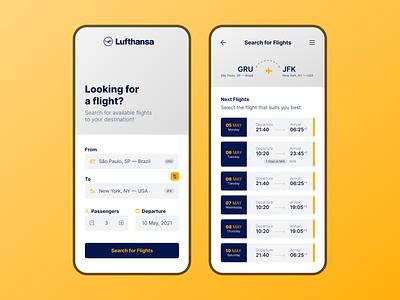 Lufthansa App UI Concept flight booking plane ticket airline flight app lufthansa minimalism minimalist ui
