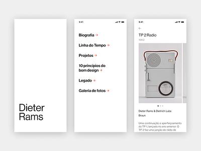Dieter Rams tribute app (WIP) wip mobile black and white dieter rams minimalist app type typography ui