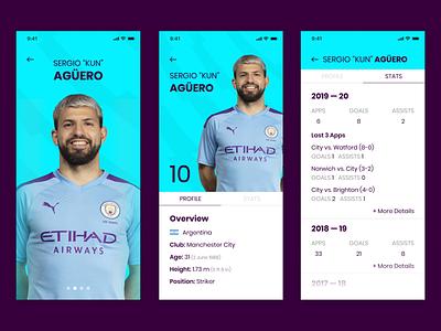 Player Stats - Premier League app sports app player stats manchester city stats aguero mobile soccer app premier league soccer ui