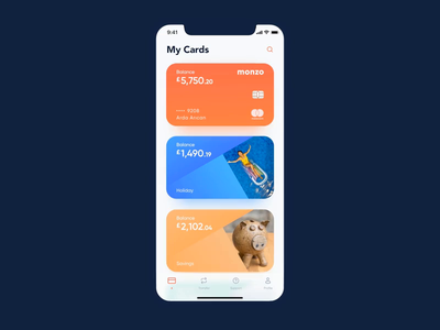 Monzo mobile app concept wallet finance app finance bank app design ux mobile gif app ios animation ui concept re-design redesign bank monzo