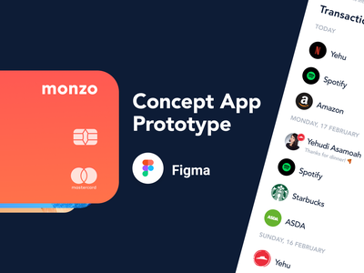 Monzo Concept App Prototype @Figma flow card banking app banking bank monzo figma prototype design ux mobile gif app ui ios animation