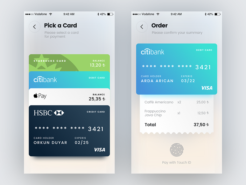 Select Payment Method ios mobile bank ux ui touch id starbucks payment card