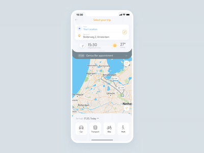 Simple Map Direction App direction map minimal pictogram design gif mobile app ios animation ui