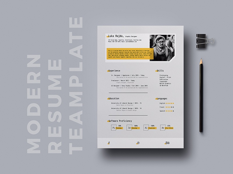 Free Modern Resume Template Freebies Cv Word