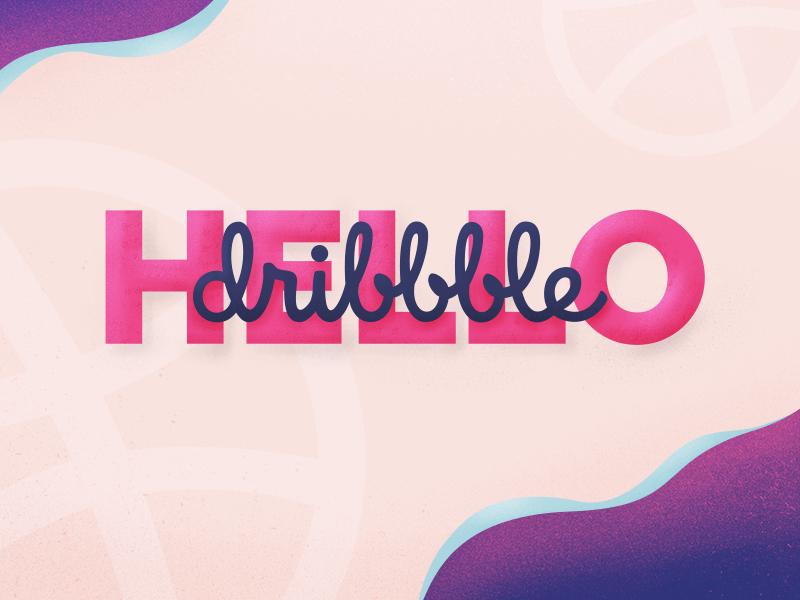 Hello Dribbble ! first shot design debut pink illustration dribbble hello
