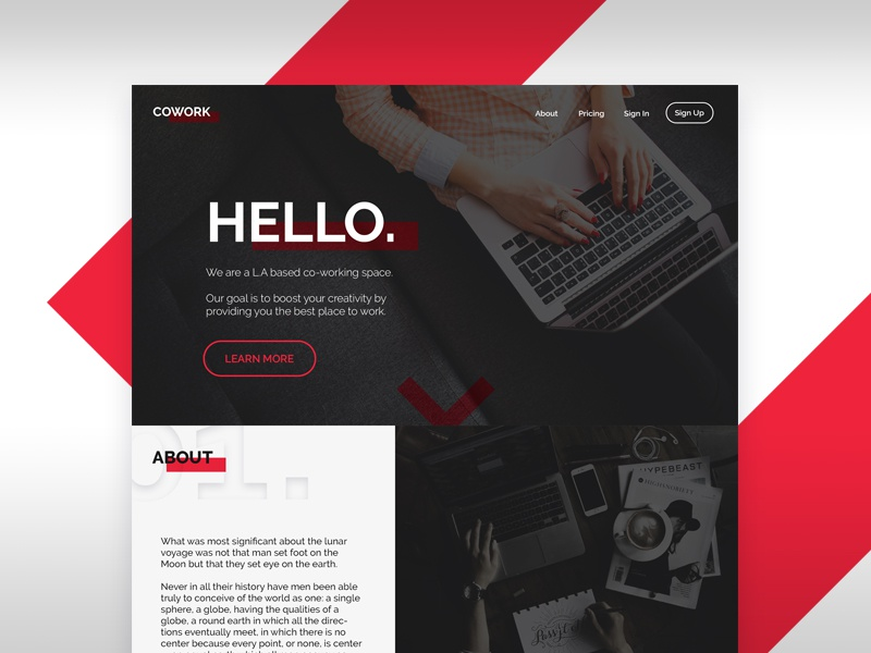 Cowork Landing Page landing page page web minimalistic space coworking design ui webdesign